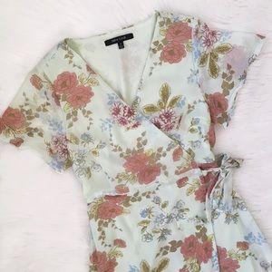 ASOS New Look Mint Green Floral Midi Wrap Dress